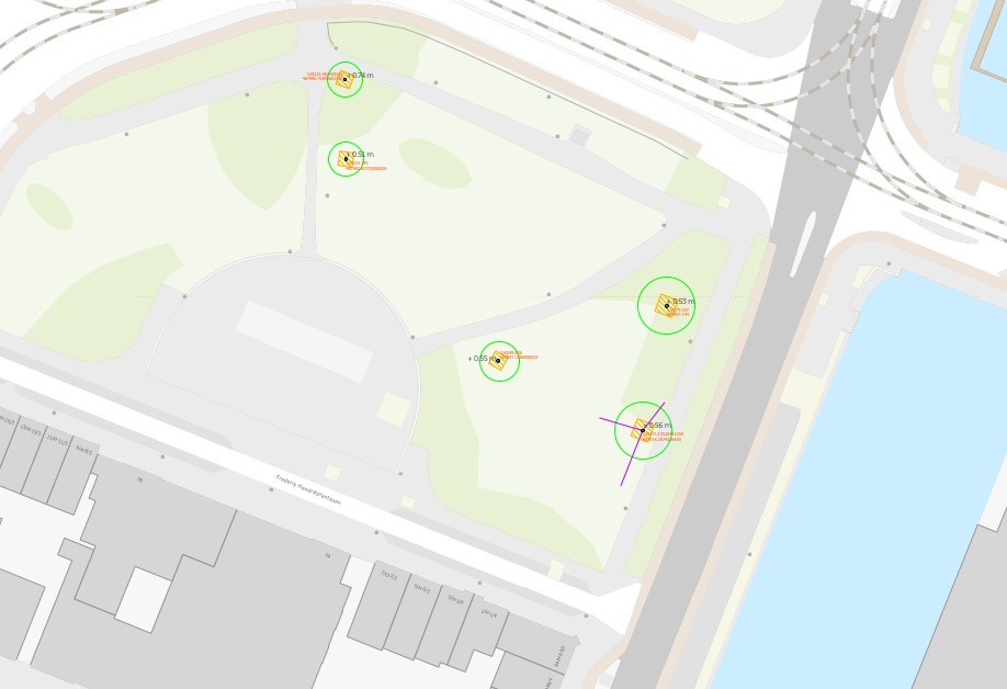 De nieuwe locaties van de bomen in het Frederik Hendrikplantsoen